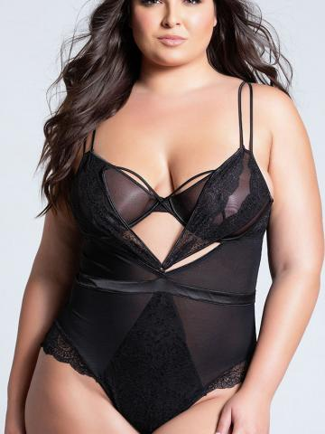 Plus Size Caged Lace Romance Teddy by Oh La La Cheri, Black, Size 1X - Yandy.com